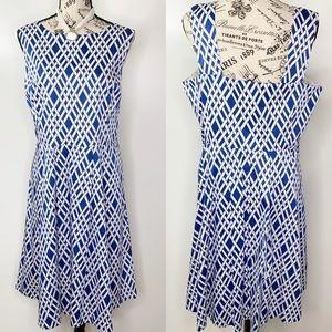 Lands End Blue & White A Line Sleeveless Dress 16